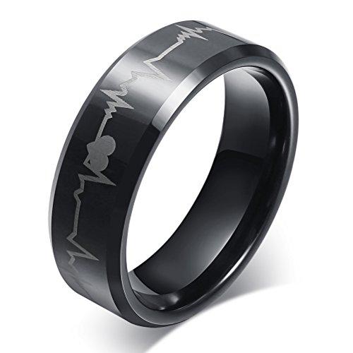 Vnox 8 millimetri delle donne degli uomini in carburo di tungsteno battito cardiaco elettrocardiogramma promessa anelli per aggancio di cerimonia nuziale,il nero