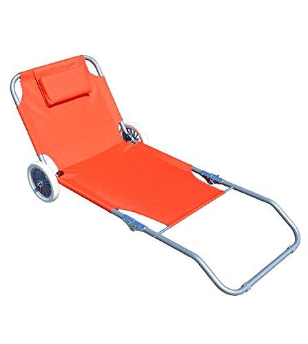 Lettino da mare spiaggina sdraio reclinabile con ruote arancione