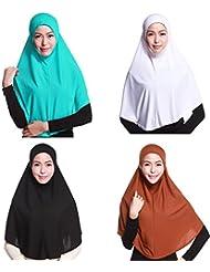 GladThink 4 X Cubierta Completa De La Mujer Musulmana Hijab Caps Bufandas Islámicas