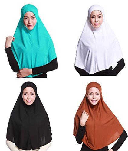 GladThink 4 X Pleine Couverture Femmes Musulmanes Hijab Caps Foulards Islamiques W+B+Brown+CornFlowerBleu