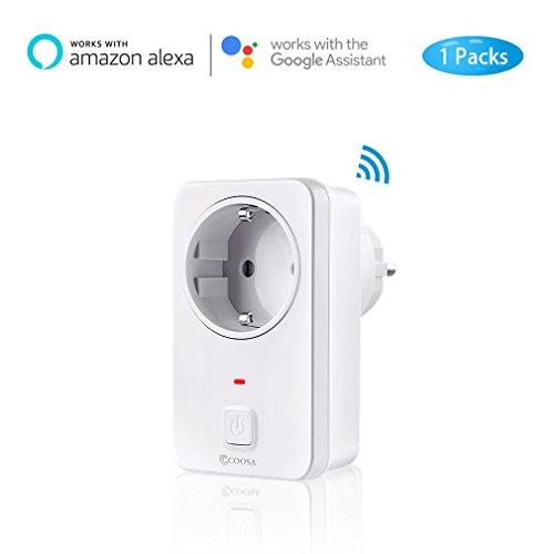 Smart Steckdose COOSA wifi alexa Plug funktioniert mit Alexa [Echo, Echo Dot] und Google Home,App Steuerung von IOS und Android mit Timing Funktion