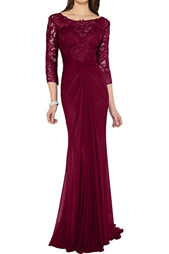 Ivydressing Damen Elegant lang Etui Rundkragen 3/4 Arm Chiffon Spitze Applikation Falte Brautmutterkleid Abendkleid Partykleid Weinrot
