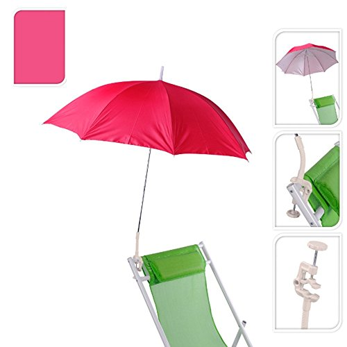 Pro Beach 2 Pack Pink lightweight Clip On Chair Parasol Beach parasol flexible neck Screw on clamp 100cm Outdoor Deckchair Clip On Parasol Shade Protection Umbrella clip on parasol for sun lounger(Pink X2)