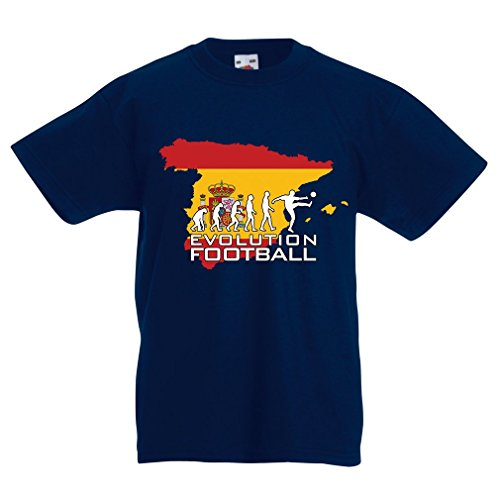 Kinder T-Shirt Evolution Football - Spain (5-6 Years Dunkelblau Mehrfarben)