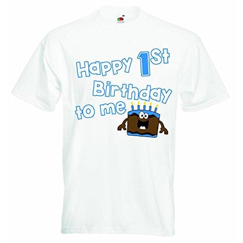 Baby First Tee T-shirt (Happy First Birthday to me-Jungen T-Shirt Personalisierte Tees Jungen TShirt Kleidung mit bedruckt Funny Quotes-Weiß-1-2Jahre)