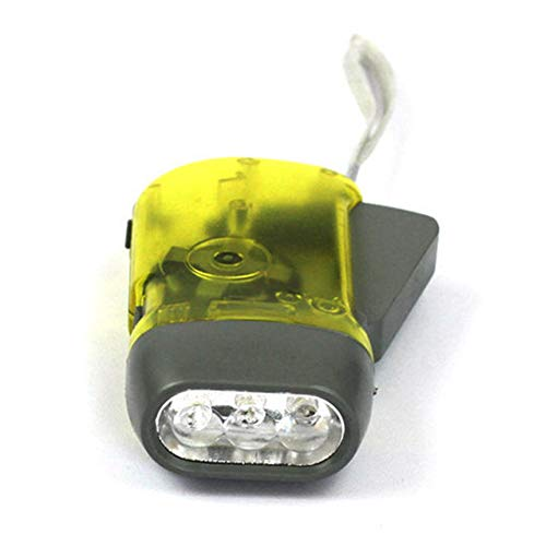 Runfon 3 | LED-Wind-Up-Taschenlampe-Dynamo-Taschenlampe Hand Press Crank Licht für Outdoor Sports Camping Yellow 100% nagelneu Wind-up Dynamo
