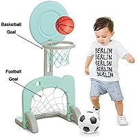 JFJL 2 En 1 Basketball Hoop Stand Toy Set para Niños Interior Y Exterior Altura Ajustable De hasta 90 Cm, con Soccer Goal, Fácil De Instalar,Green