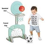 JFJL 2 In 1 Basketballkorbständer Spielzeug Für Kinder Drinnen Und Draußen Einstellbare Höhe Bis Zu 90 cm, Mit Fußballtor, Green