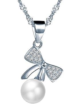 Yumilok 925 Sterling Silber Zirkonia Perle Schleife Anhänger Halskette Kette mit Anhänger für Damen Mädchen
