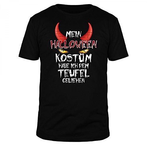 FABTEE Halloween Kostüm Habe Ich Dem Teufel geliehen - Fun Organic T-Shirt Herren - Verschiedene Farben, Größen S-3XL, Größe:S, Farbe:Schwarz