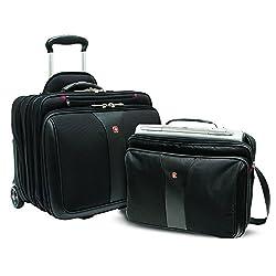 """Wenger 600662 PATRIOT 17"""" 2-teiliges Business Wheeled Laptop Aktentasche, gepolsterte Laptopfach mit passenden 15,4-Zoll-Laptop-Tasche in schwarz {25 Liter}"""