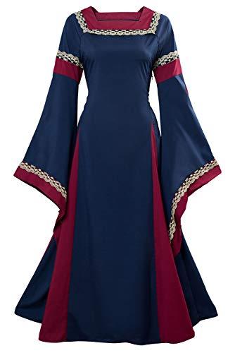 tianxin Vestido de traje medieval Vestido renacentista para mujer Vestido largo de noche de estilo victoriano gotico con manga larga de llamarada (XXL , Azul)