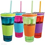 ShoppoStreet 2 In 1 Snack & Drink Snackeez Travel Cup In One Container