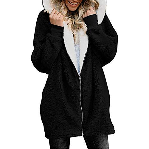 Yzibei cappotto caldo donna felpa con cappuccio in felpa con cappuccio invernale foderato con cappuccio vestiti invernali in cotone da donna (colore : nero, dimensione : l)