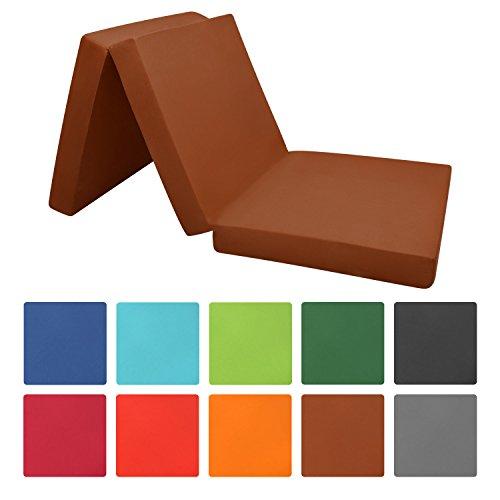 Beautissu® Materassino futon pieghevole per ospiti - 190x60x7 cm - soffice microfibra - comodo e versatile - marrone