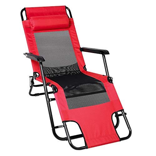 YUEBO Faltbar Liegestühle Sonnenliege, Schwerlast Textoline Schwerelosigkeit Stühle, Draussen...
