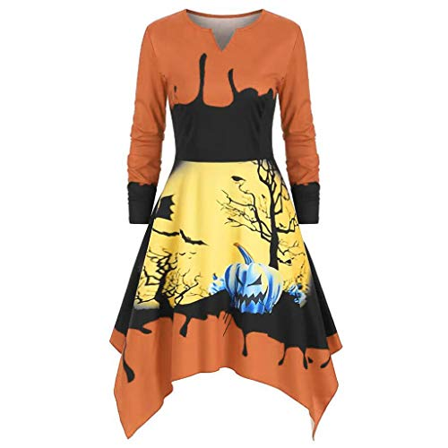 DUJIE Halloween Kostüm Damen Cosplay Sexy Party Zubehör Damen Halloween Pumpkin Print Kleid Frauen Kürbis Druck langes Hülsen V-Ansatz beiläufiges Kleid -