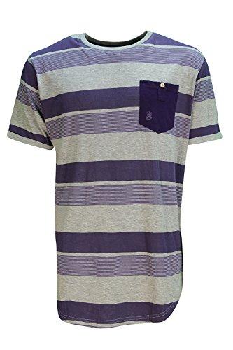 Soulstar Uomo Sweax Lungo A Righe T-shirt Maniche Corte Taglio Lungo T-shirt Top Viola