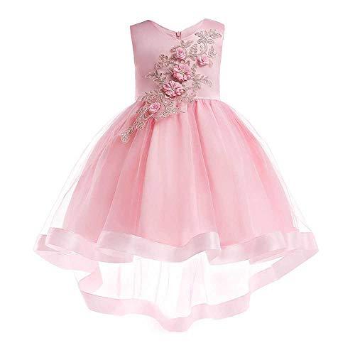 Frauenkleid Mädchen Bogen Prinzessin Kleid Satin Performance Piano Kostüm 3-9 Jahre altes Mädchen Kleid (Color : Pink, Size : 6-7Years) -