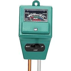 Trixes 3-in-1 Bodenfeuchtigkeit Meter, Licht und pH Säure Tester, Pflanze Tester, ideal für Garten, Indoor & Outdoor kein Akku erforderlich