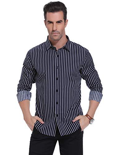 Herren Button-up-shirt Arbeiten (iClosam Herren Hemd Langarm Seersucker Modern Fit Baumwolle Herren Hemden Freizeit Hochzeit Arbeit Business (Dunkelblau2, Large))