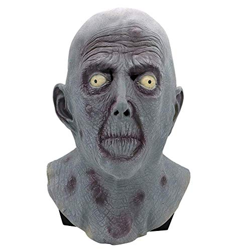 YaPin Horror Latex Weiße Augen Geistermaske Geisterkönig Teufel Grimasse Kopfbedeckung Halloween Ball COS Realistische Requisiten für Herren
