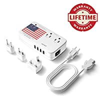 DOACE Professional 2200W Voltage Converter, All-in-One Travel Converter Step Down 220v to 110v with Power 10A Dual Adapter 4-Port USB UK/US/AU/EU International Plug Converters Over 200 Countries