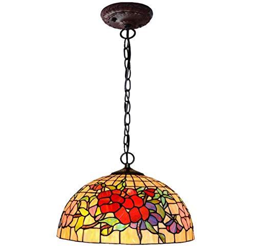GDLight Tiffany Stil Rose Pendelleuchte Vintage Floral Glasmalerei Decke hängende Leuchten für Schlafzimmer Balkon Insel Dekoration, E27 -