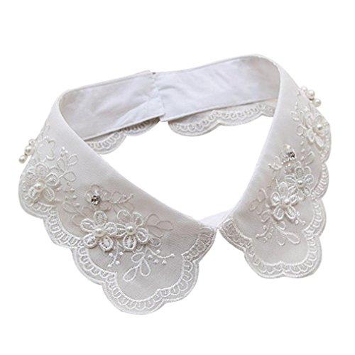 Kragen, Huihong Frauen MäDchen GefäLschte Falsche Kragen Abnehmbare Revers Shirt Peter Pan Choker Halskette (D) (Peter-pan-kragen-bluse Mädchen)