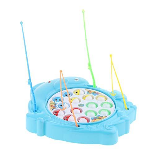 Fenteer Kinder Elektronisch Angelspiel Spielset, 15 Bunte Fisch und 4 Angelrute, Pädagogische Spielzeug für Junge Mädchen ab 3 Jahren - Delphin