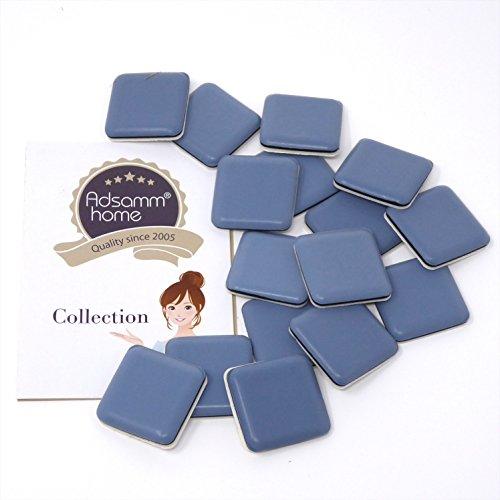 16 x PTFE-Gleiter | 30×30 mm | Grau-Blau | quadratisch | Selbstklebende Möbelgleiter in Premium-Qualität von Adsamm®