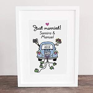 Poster, Kunstdruck, Bild, Traumpaar, VW Beetle, Käfer, Love, Liebe, Gastgeschenk, Hochzeit Geschenkidee Hochzeitsgeschenk, Deko: