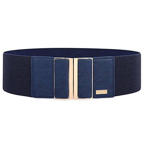 Women's elastic wide belt with alloy buckle MIJIU Stretch belt