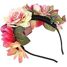 MagiDeal Venda de Flor Boho Corona de Cabeza de Pelo Guirnalda de Novias de Boda Decoración de Pelo de Mujeres Azul/Rosa/Beige - Rosado