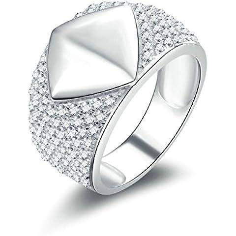 (Personalizzati Anelli)Adisaer Anelli Uomo Argento 925 Anello Fidanzamento Incisione Gratuita Polished Anello Diamante