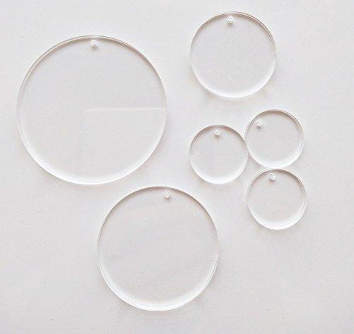 Meya Set 15Stück High transparent blank Acryl Scheiben, Acryl Rund Tabelle mit Loch 1/20,3cm für Schlüsselanhänger, Schmuck DIY Kunsthandwerk