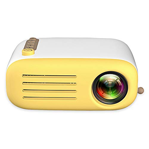 GAOwi Tragbarer Mini-LCD-Projektor für den Heimmikro-Theater-LED-Projektor 500-600 Lumen mit 1920 x 1080 P Proyector 30000 Stunden Lampenlebensdauer für Heimkino,Yellow