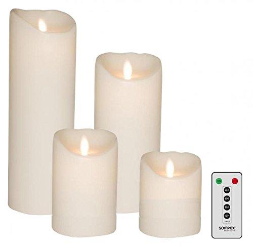 Juego de 4SOMPEX LED Velas de cera Blanco 10/12,5/18/23cm Con Mando A Distancia