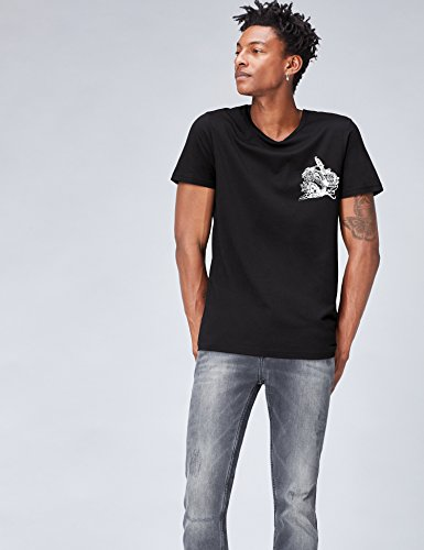 FIND Herren T-Shirt mit Print Schwarz (Black/white/classic Red)