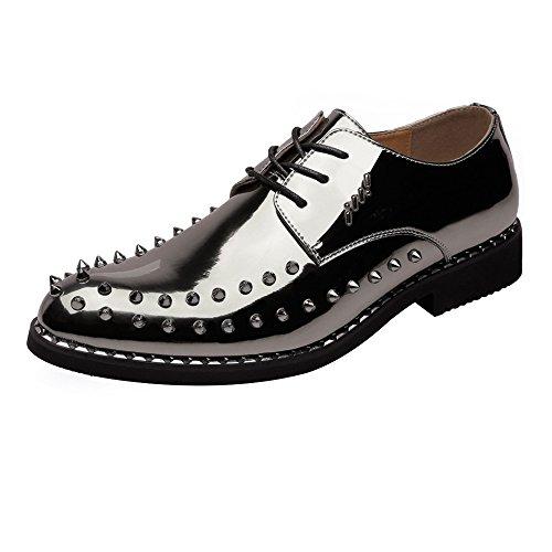 Hilotu Oxford-Schuhe für Männer mit Kappe und Zehen Fashion Classic Dress Schuhe Tuxedo Oxford aus Lackleder (Color : Coffee, Größe : 41 EU) Oxford Tuxedo