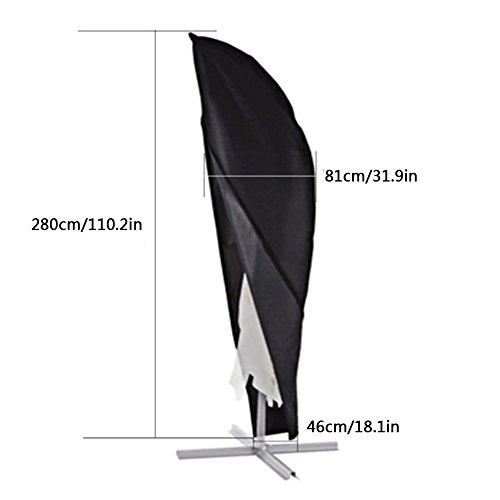Xiliy Schutzhülle Sonnenschirm Ampelschirm Abdeckhaube 210D Polyester Abdeckung Hülle 280 x 46 x 81cm