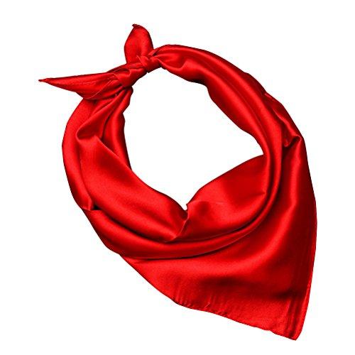 Tinksky Frauen Seidenschals /mode Quadrat Seiden Schal Halstuch Kopftuch Nickituch (rot) (Seide Kopf Binden)