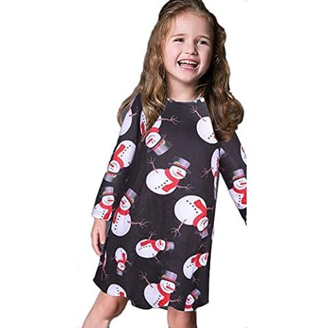 Saingace Kinder-Mädchen-Baby-Weihnachten Langarm Schneemann -Weihnachtsdruck Swing-Kleid (1-10 Jahre) (90, Schwarz)