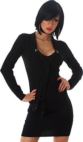 Enzoria Damen Feinstrick-Kleid Longpulli Pullikleid Schalkragen & Strass-Applikation Slim-Fit (34/36/38) Schwarz