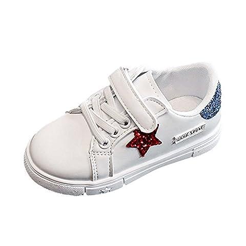 Sunenjoy Bébé Enfant Filles Garçons Sneaker Fashion Sequins étoiles Casual Chaussures de Sport Blanc (24 EU, bleu)