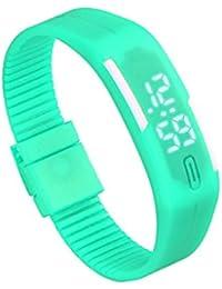 Fulltime (TM) Mens Unisex goma reloj LED FECHA deportes pulsera digital reloj de pulsera, hombre mujer Infantil, verde menta, 22cm/8.7inch