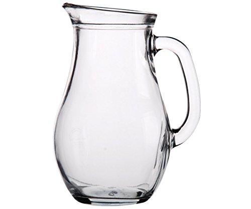 Promobo Karaffe Hat Wasser Krug Ausgießer Stil Bistro Brasserie Glas 1l (Wasser-krug-1 Liter)