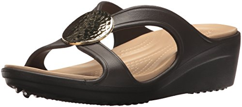 Crocs Sanrah Hammered Circle Wedge Women, Damen Sandalen, Braun (Espresso/gold), 39/40 EU - Wohnungen Womens Crocs