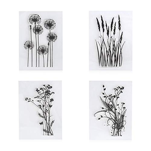 4pcs/Set Dandelion Lavender Flowers Leaves Stamps Rubber Clear Stamp/Seal Scrapbook/Photo Decorative Card Making Clear Stamp