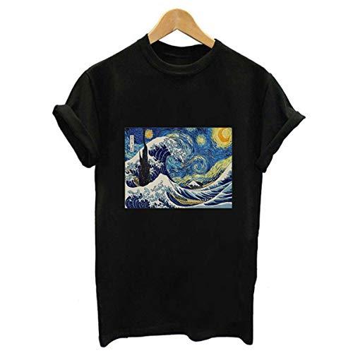 Harajuku Fashion Van Gogh Art Oil Painting Printed Tshirts Women Vintage Short Sleeve Casual Vogue Graphic Tees Shirt Femme Tops 1217-black S Aeropostale Zip